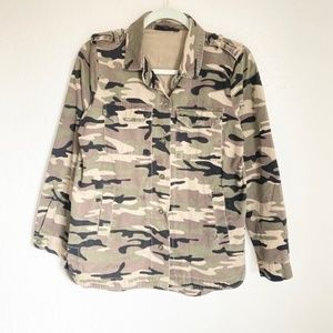 Elodie Camouflage Button Up Light Jacket